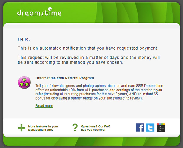 dreamstime request payment email