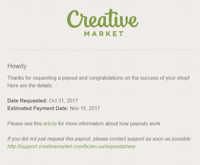 creative market request paymment