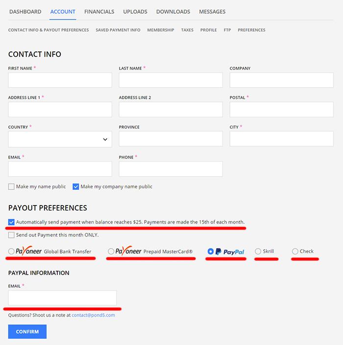 pond5 new payment dashboard