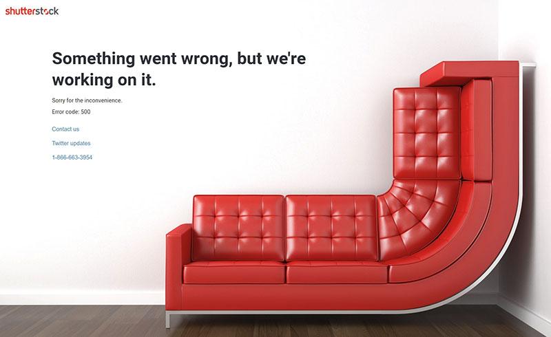 Код ошибки 500 на Shutterstock.com.