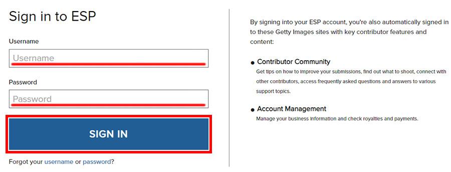 Вход в личный кабинет esp.gettyimages.com. Форма для ввода логина и пароля.