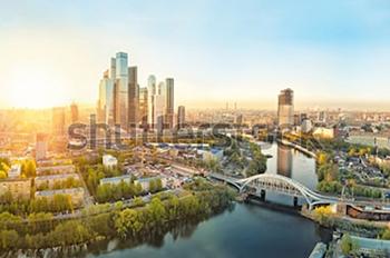 Панорамный вид на Москву. Купить фотографию в высоком разрешении.
