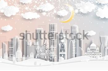 Иллюстрация Москвы в бумажном стиле. Купить фотографию в высоком разрешении.