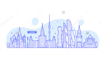 Иллюстрация с достопримечательностями Москвы. Купить фотографию в высоком разрешении.