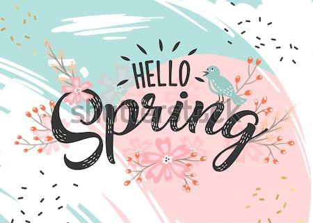 Привет Весна рука набросал логотип, значок значок типографии. Надпись весеннего сезона с листом для поздравительной открытки, приглашения шаблон. Ретро, винтажные надписи баннер плакат шаблон фона