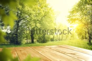 Деревянный стол со свободным пространством и весенним восходом или закатом.