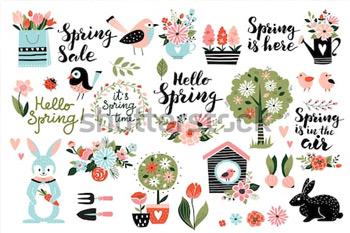 Весенний набор, рисованные элементы - каллиграфия, цветы, птицы, венки и другие. Идеально подходит для веб, открыток, плакатов, обложек, бирок, приглашений, наклеек. Векторная иллюстрация