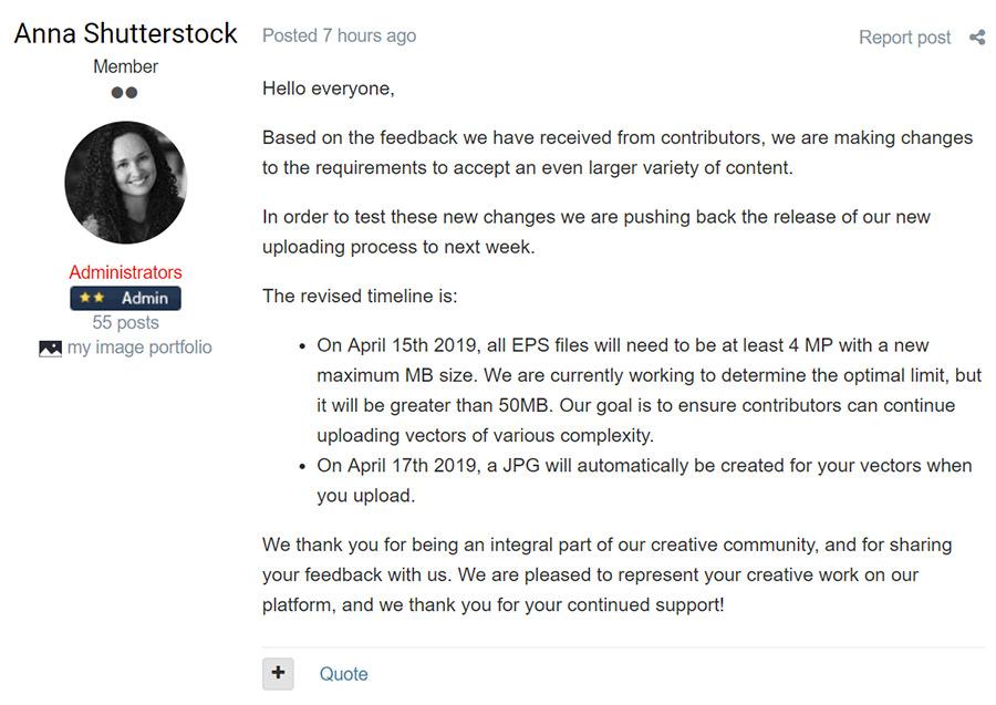 Мы выиграли бой, но проиграли войну. Shutterstock откладывает введение новых правил загрузки векторов на неделю.