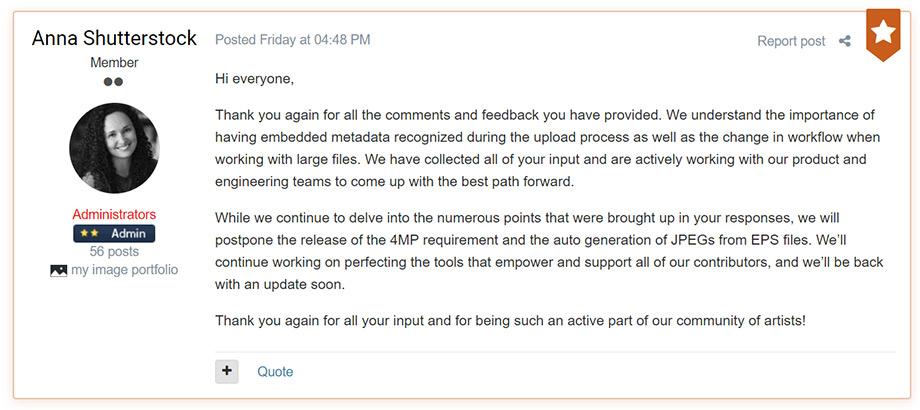 Они ушли, но обещали вернуться. Или как Shutterstock реагирует на реакцию авторов.