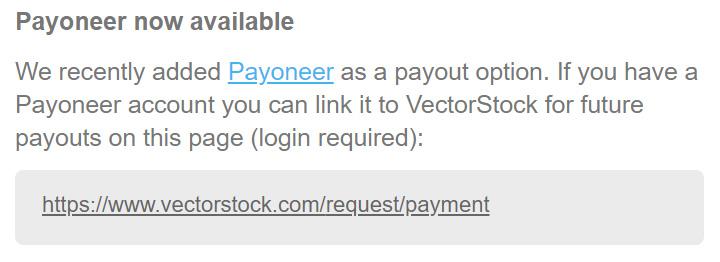 Vectorstock.com добавил Payoneer в качестве способа вывода гонораров.