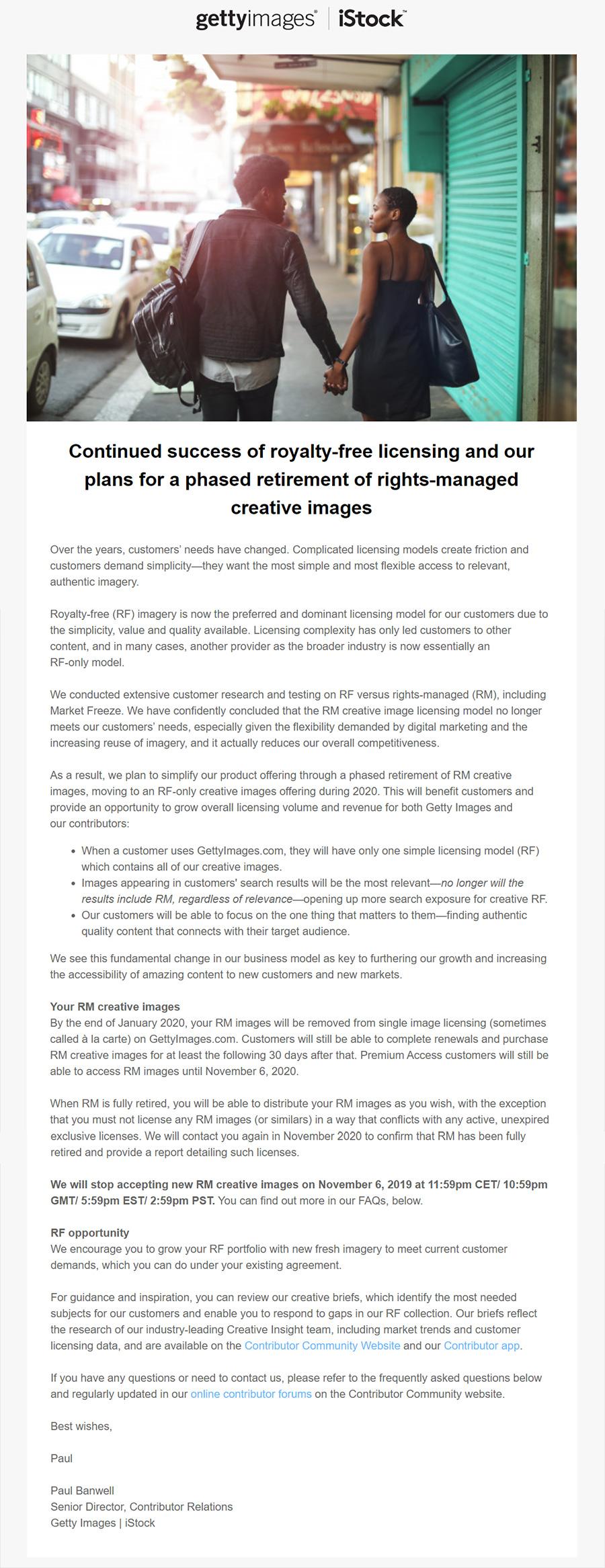 HOT! Getty Images закрывает Rights-Managed (RM) направление. Конец эпохи.