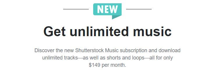 Shutterstock.com вводит безлимитную подписку на музыкальные композиции за 149$ в месяц.