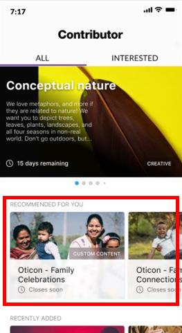 """Приложение Contributor by Getty Images. Раздел """"Рекомендовано для Вас."""""""