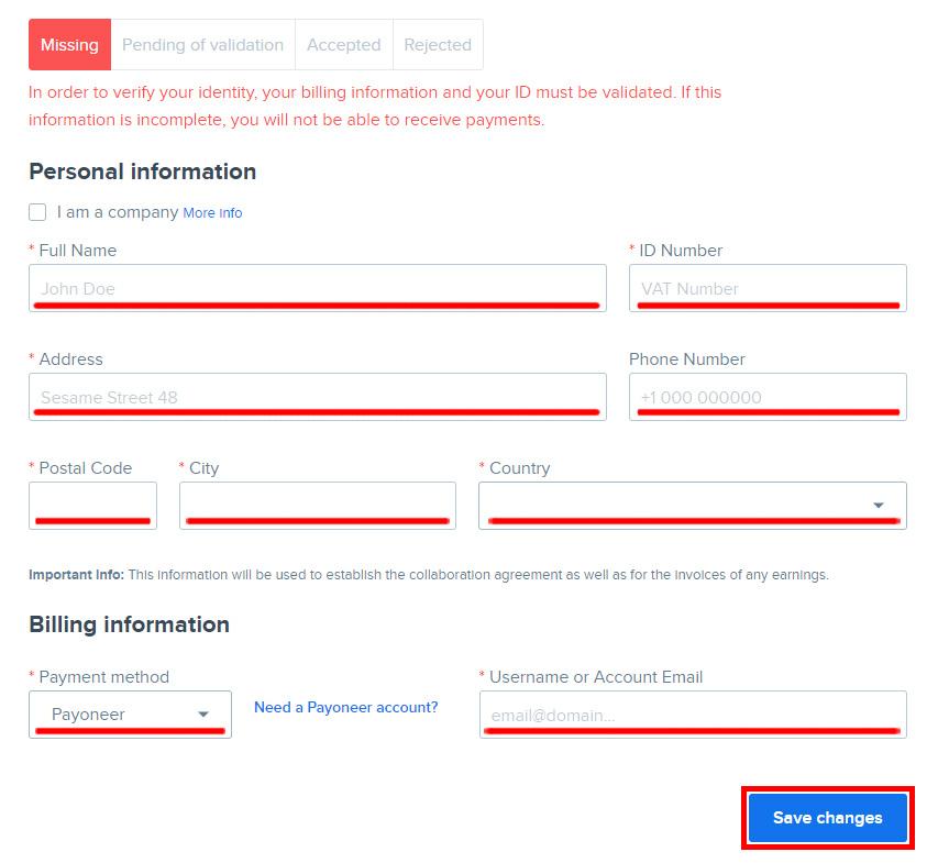 Регистрация Автора на Freepik. Инструкция. Заполнение платежной информации.