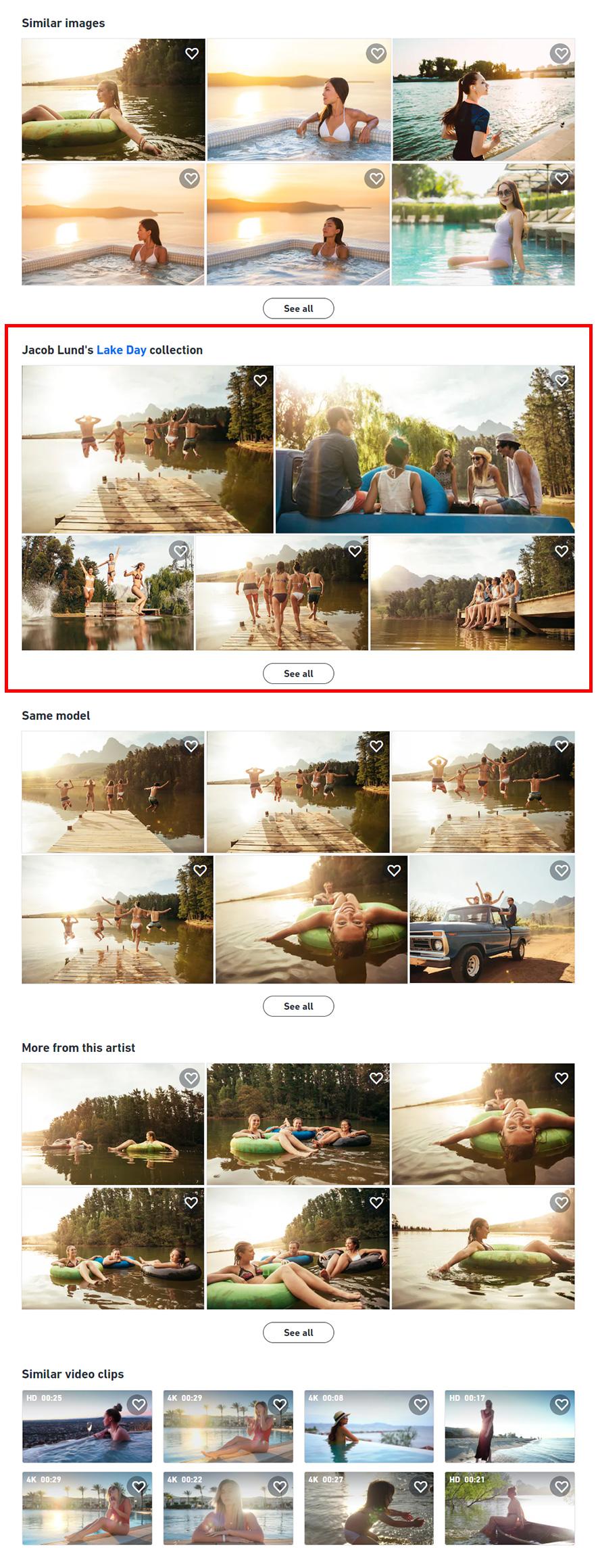 Shutterstock стал отображать коллекцию, в которой находится конкретная работа.