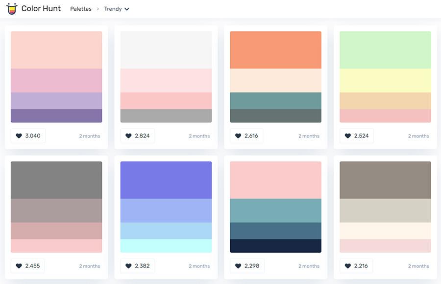 Сервисы для работы с цветом. Топ 4. Colorhunt.co.