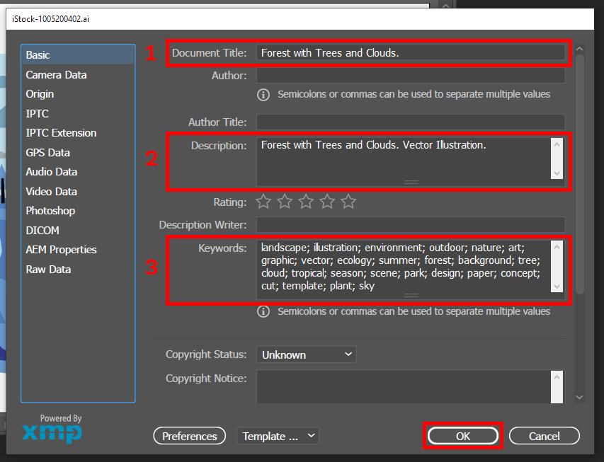 Как добавить метаданные к векторной .EPS или .AI иллюстрации через Adobe Illustrator?