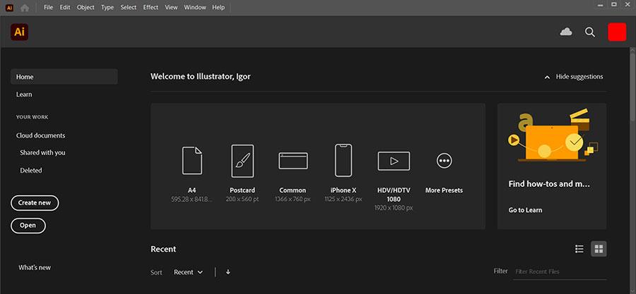 Как отключить начальный экран в Adobe Illustrator?