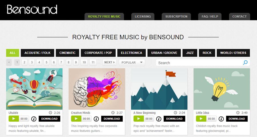 Музыка для видео на YouTube. Как выбрать и где купить? 15 Лучших сайтов. Bensound.com.
